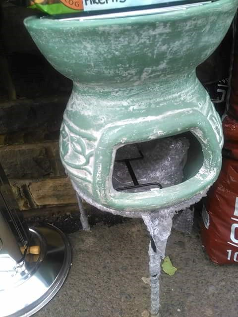 Clay chimenea and BBQ