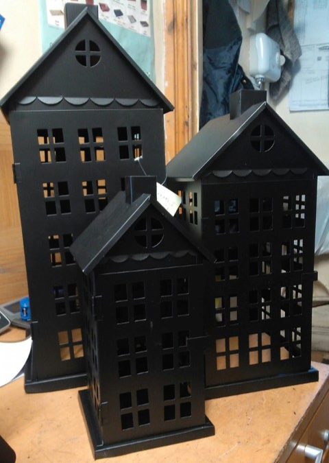 Set of 3 tall house steel lanterns